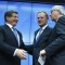 (160308) -- BRUSSELS, March 8, 2016 -- Turkish Prime Minister Ahmet Davutoglu (L), European Council President Donald Tusk (C) and European Commission President Jean-Claude Juncker greet each other after a joint press conference at the end of the EU-Turkey summit at the European Council headquarters in Brussels, Belgium, on March 7, 2016. The European Union and Turkey on Monday discussed new proposals to tackle the exacerbated migrant crisis, which was imperiling the bloc s passport-free policy. )(zhf) BELGIUM-BRUSSELS-EU-TURKEY-SUMMIT YexPingfan PUBLICATIONxNOTxINxCHN  Brussels March 8 2016 Turkish Prime Ministers Ahmet Davutoglu l European Council President Donald Tusk C and European Commission President Jean Claude Juncker Greet each Other After a Joint Press Conference AT The End of The EU Turkey Summit AT The European Council Headquarters in Brussels Belgium ON March 7 2016 The European Union and Turkey ON Monday discussed New proposals to Tackle The exacerbated Immigrant Crisis Which what  The Bloc S Passport Free Policy zhf Belgium Brussels EU Turkey Summit YexPingfan PUBLICATIONxNOTxINxCHN