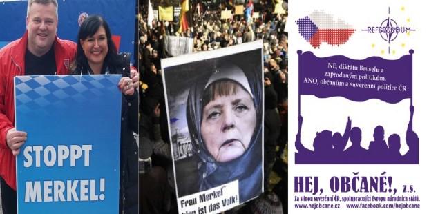 Protest pí Merkel